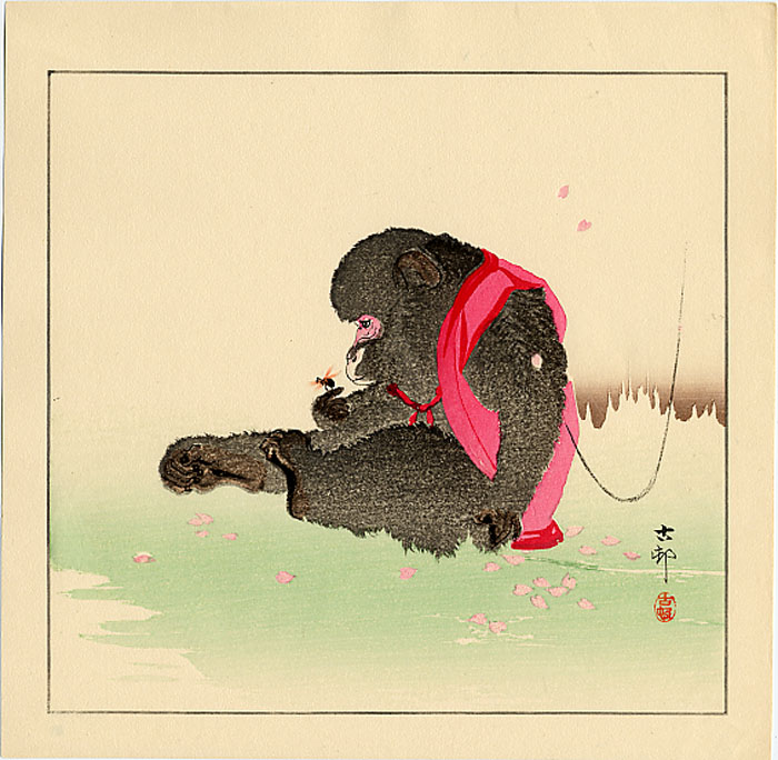 """""""Monkey Holding an Insect"""" by Koson"""