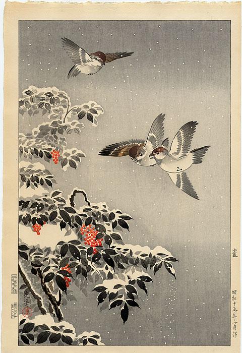 """Nandin and Sparrows in the Snow"" by Koitsu, Tsuchiya"