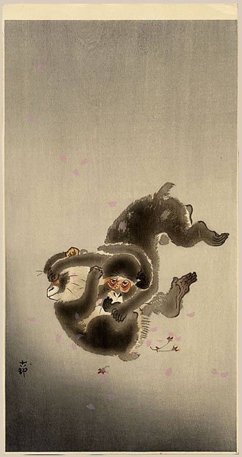 """Two Playing Monkeys"" by Koson"