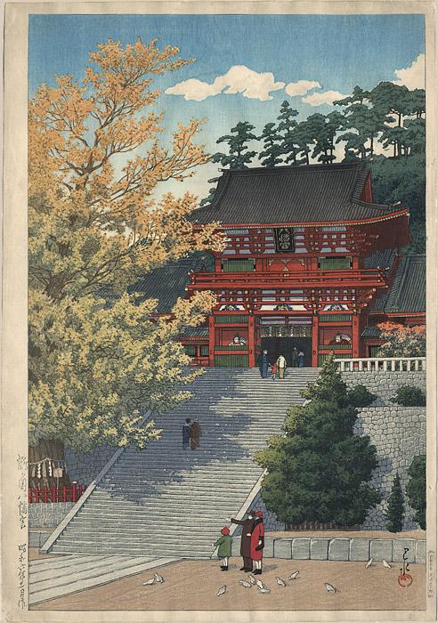 2391_Hasui_Red_Temple dans Artistes: Peintres & sculpteurs, etc...