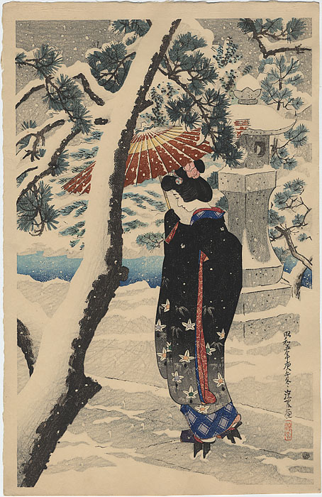"""Snow at the Shrine"" by Shinsui, Ito"