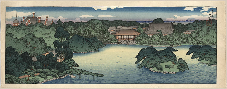 """Panoramic View of the Daisensui Pond"" by Hasui, Kawase"