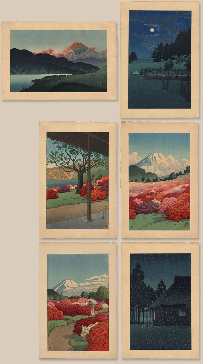 """Collection of Views of the Moto-Hakone Minami Villa - Complete set of six prints & folio."" by Hasui, Kawase"