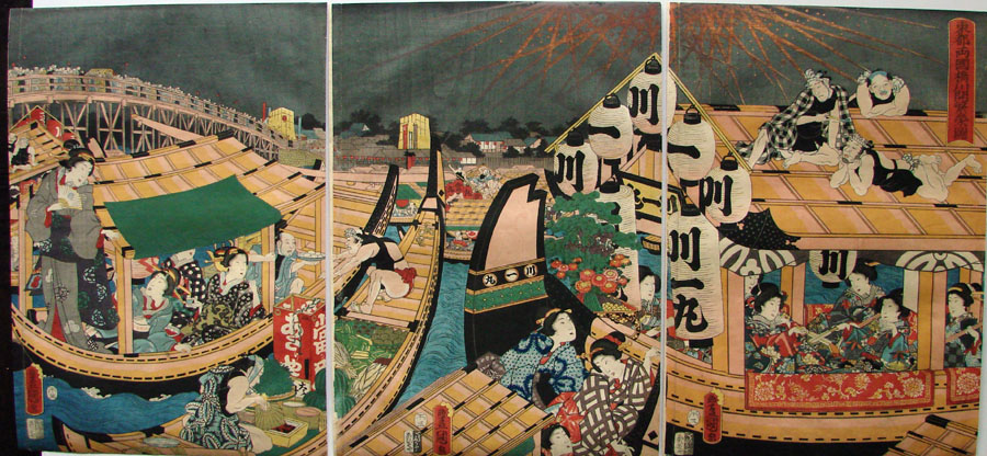"""Flourishing Fireworks at Ryōkoku Bridge"" by Kunisada"