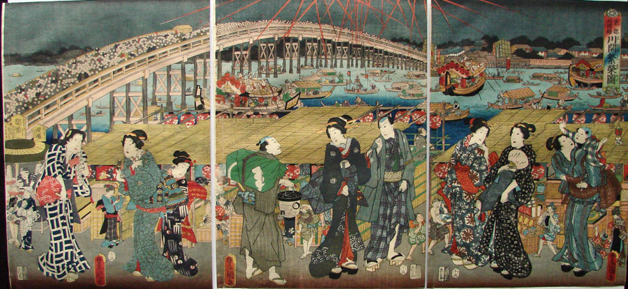 """An Evening with Fireworks at Ryōkoku Bridge"" by Kunisada"