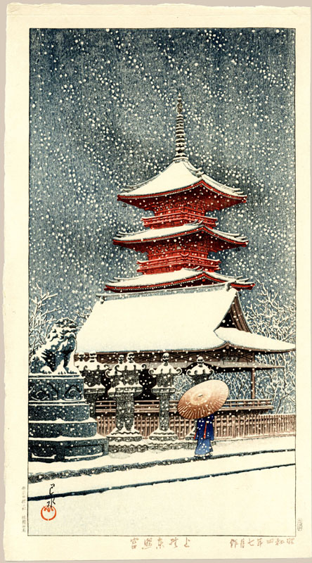 """Snow at Tosho Shrine, Ueno"" by Hasui, Kawase"