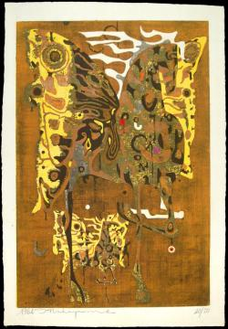 Thumbnail of Limited Edition Woodblock Print on Gold Leaf by Nakayama, Tadashi