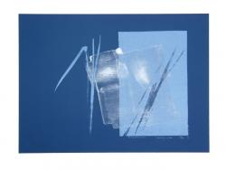 Thumbnail of Limited Edition Lithograph with Blue and Silver Brushstrokes; on Blue Paper by Shinoda, Toko