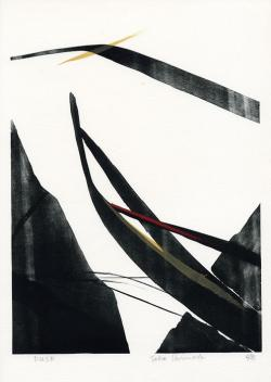 Thumbnail of Limited Edition Lithograph with Red, Yellow and Black Sumi-e Brushstrokes by Shinoda, Toko