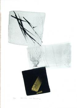 Thumbnail of Limited Edition Lithograph with Gold & Silver Sumi-e Brush Strokes by Shinoda, Toko
