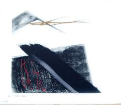 Thumbnail of Limited Edition Lithograph with Red, Gold & Silver Brush Strokes by Shinoda, Toko
