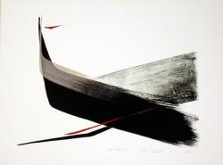 Thumbnail of Limited Edition Lithograph with Red and Gold Sumi-e Brush Stokes by Shinoda, Toko