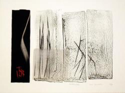 Thumbnail of Limited Edition Lithograph with Red and Silver Sumi-e Brushstrokes by Shinoda, Toko