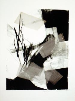 Thumbnail of Limited Edition Lithograph with Silver, Gold & Black Sumi-e Brush Strokes by Shinoda, Toko
