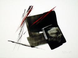 Thumbnail of Limited Edition Lithograph with Red, Silver and Black Sumi-e Brush Strokes by Shinoda, Toko