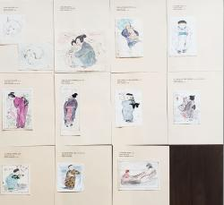 Thumbnail of Original Watercolor Drawings with Colored Pencils and Pen by Hyde, Helen
